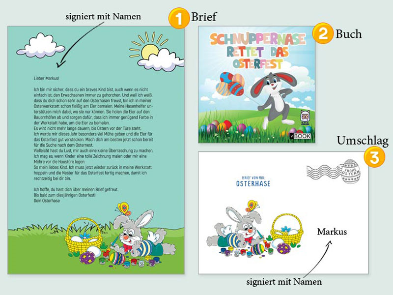 Детские книги и персональное письмо от зайца к Пасхе. Заказать в Германии